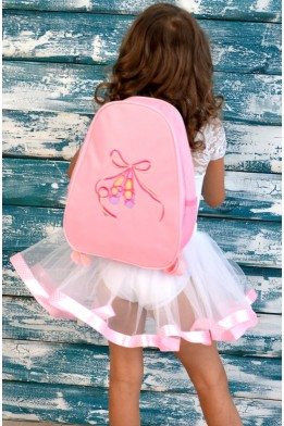 Pink backpack with pointe embroidery