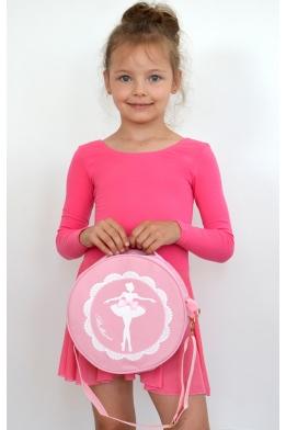 Сумка круглая для танцев розовая