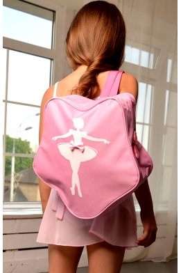 Pink backpack with ballerina