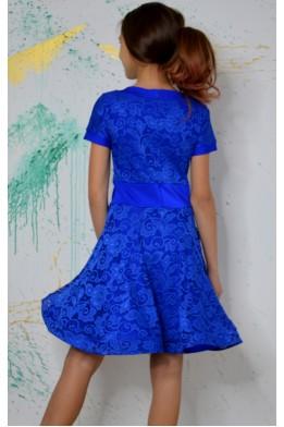 Рейтинговое платье (бейсик) для танцев синий