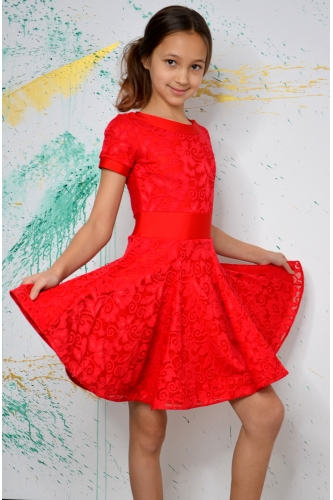 Juvenile dance dress red