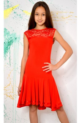 Latin dress with lace red