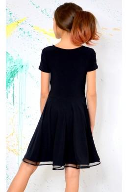 Платье для танцев с гипюром черное