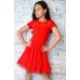 Платье для танцев с гипюром красное