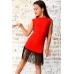 Платье для танцев с бахромой красное