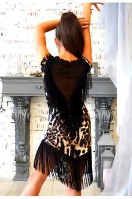 Платье для танцев с бахромой леопардовый принт