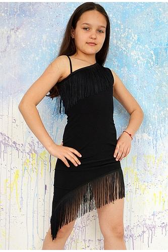 Платье на одно плечо с отделкой из бахромы