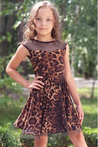 Платье для танцев леопардовое с сеткой