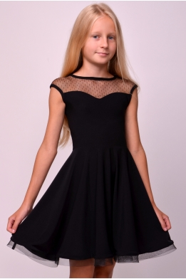 Dance dress with dotted mesh