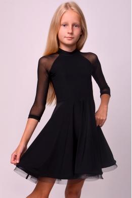 Платье для танцев с рукавами из сетки