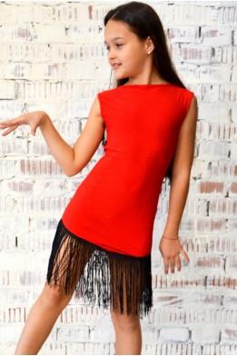 Latin dress with fringe red