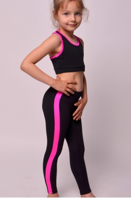 Leggings with cuffs for dance and gymnastics black