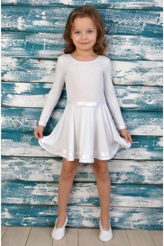 Leotard dress for dance and ballet white