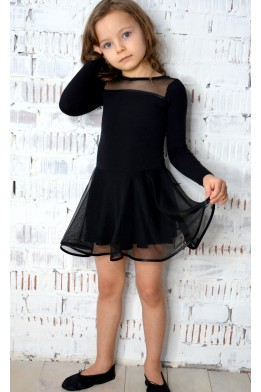 Купальник-платье с  двойной юбкой черный