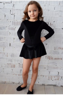 Leotard with velvet  skirt black