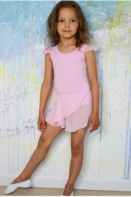 Leotard with wrap over stretch mesh skirt light pink