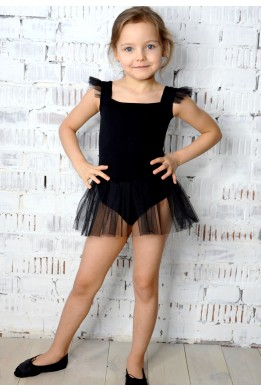 "Leotard with tulle skirt and little ""wings"" black"
