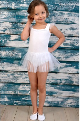 "Leotard with tulle skirt and little ""wings"" white"