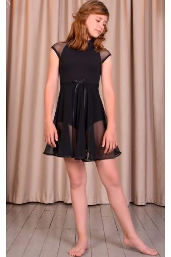 Купальник-туника для танцев и балета черный