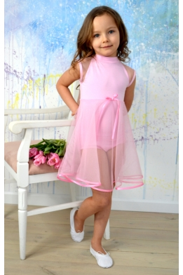 Leotard with net skirt for dance and ballet light pink