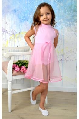 Купальник-туника для танцев и балета нежно-розовый