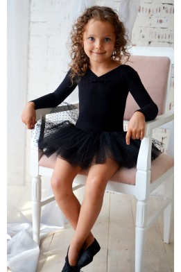Leotard with dotted tulle skirt  black