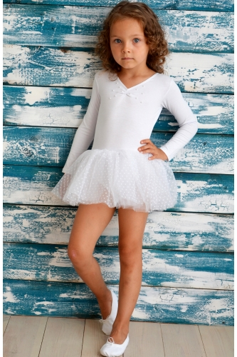 Leotard with dotted tulle skirt white