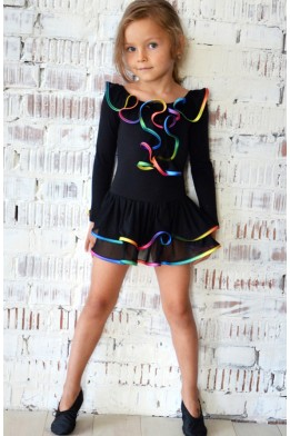 Leotard with skirt black/multicolor