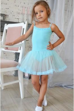 Купальник с юбкой для танцев и балета голубой