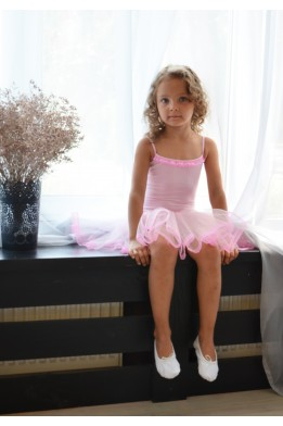 Camisole leotard with tulle skirt light pink