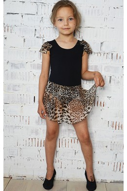 Leotard with skirt black/animal print