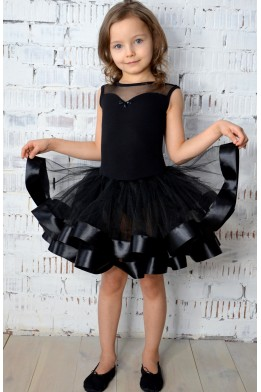 Leotard with tulle skirt for dance and ballet black