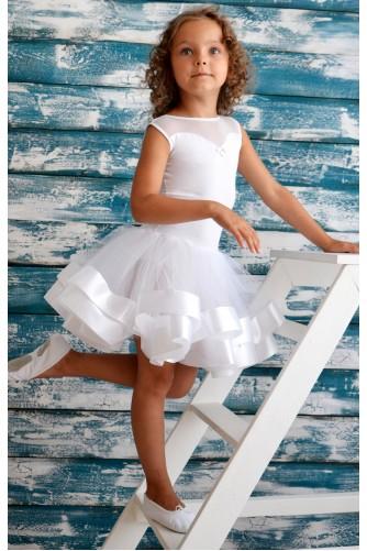 Купальник с пышной юбкой для танцев белый
