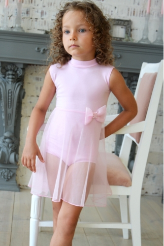 Leotard with net skirt light pink