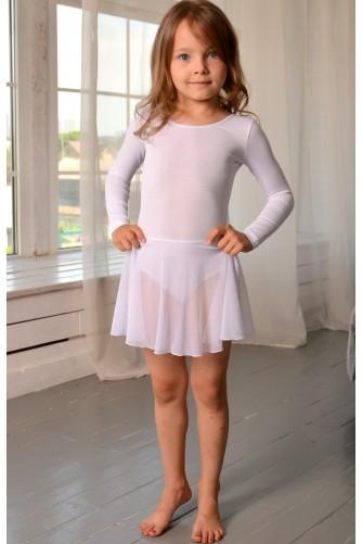 Купальник с юбкой для танцев и гимнастики белый