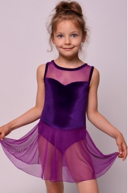 Leotard with skirt violet