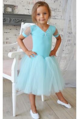 Купальник с  длинной юбкой для танцев голубой