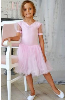 Купальник с длинной юбкой для танцев нежно-розовый