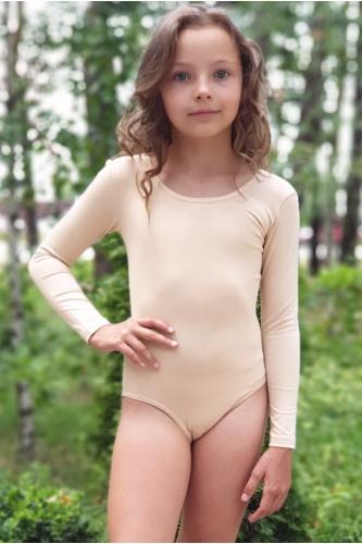 Купальник для танцев и гимнастики с длинным рукавом телесный