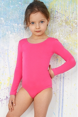 Leotard for dance and gymnastics with long sleeves pink