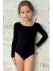 Leotard for dance and gymnastics with long sleeves black