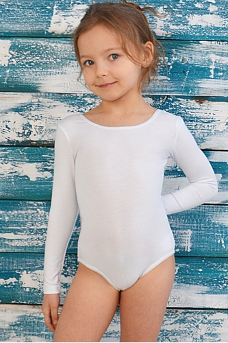 Leotard for dance and gymnastics with long sleeves white