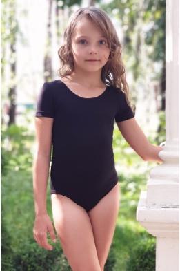 Купальник для танцев и гимнастики с коротким рукавом черный