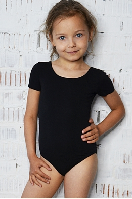 Leotard for dance and gymnastics with short  sleeves black