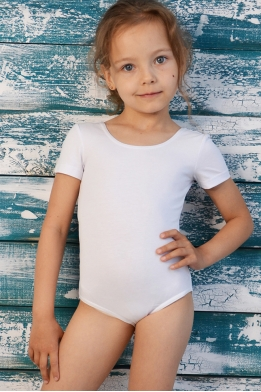 Leotard for dance and gymnastics with short sleeves white