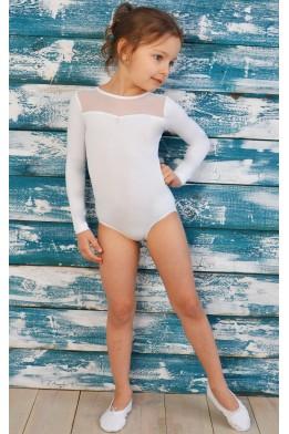Купальник для танцев и гимнастики с сеткой белый