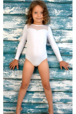 Leotard for dance and gymnastics with net white