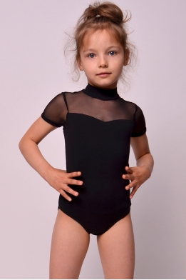 Leotard for dance and gymnastics with net black