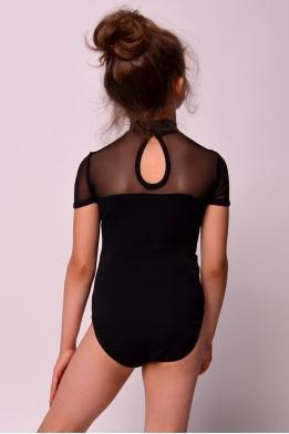 Купальник для танцев и гимнастики с сеткой черный