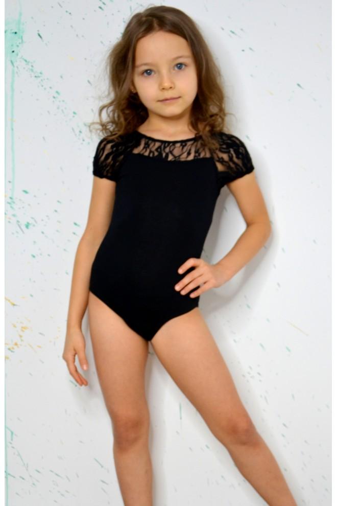 7f7cadbb50e17 Купить Купальник для танцев и гимнастики с гипюром черный по цене ...